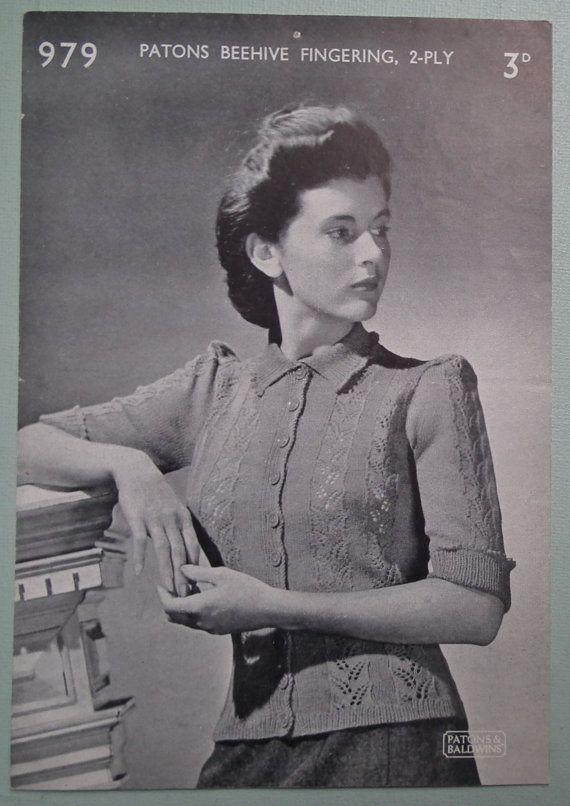 "Vintage Knitting Pattern 1930s 1940s Womens Cardigan Pattern 30"" - 32"" bust P & B 979 30s 40s original knitting pattern"