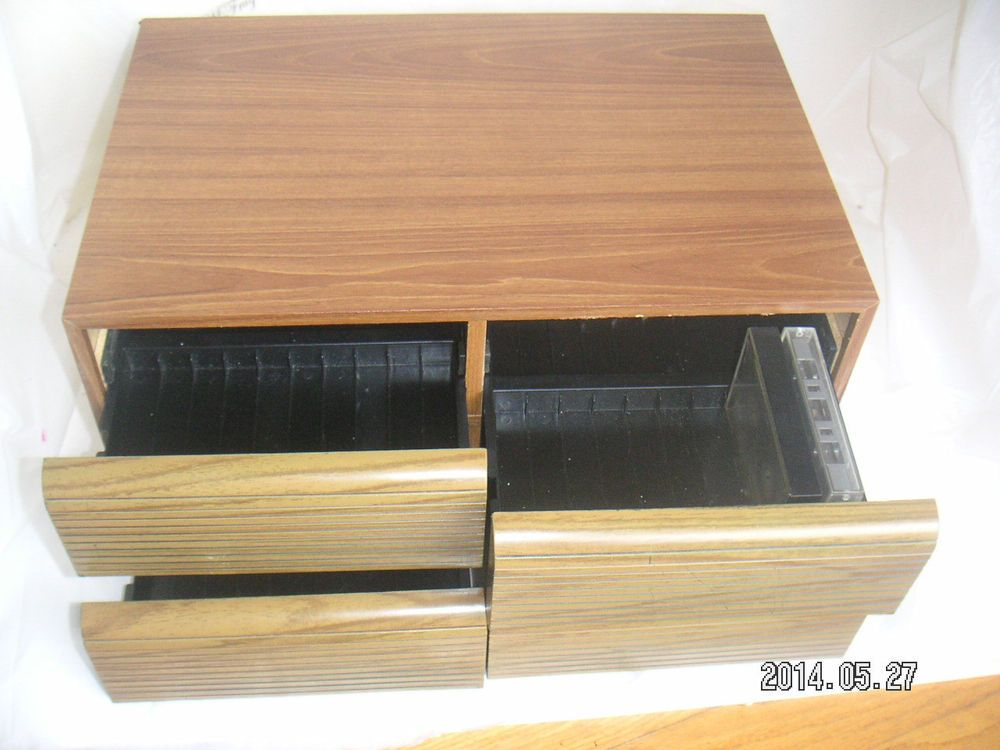 Music Vintage 36 Audio Cassette Tape Case Woodgrain Tabletop Cabinet Storage Holder