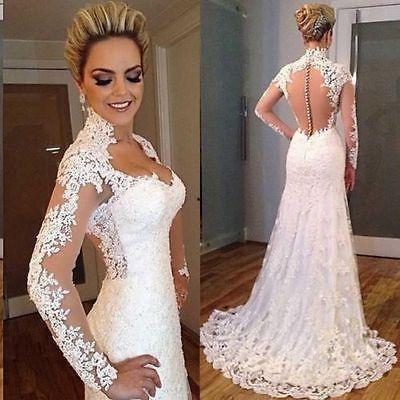 Kiváló minőségű Csipke hosszú ujjú menyasszonyi ruha esküvői ruha XXS-8XL… ed6740fa00