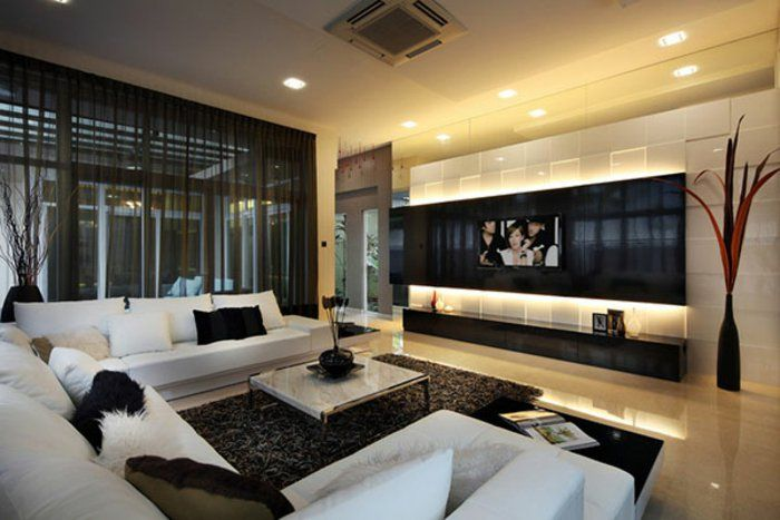 Singapore 65 Inch Tv With Wool Decorative Pillows Living Room Contemporary  And White Tile Floor