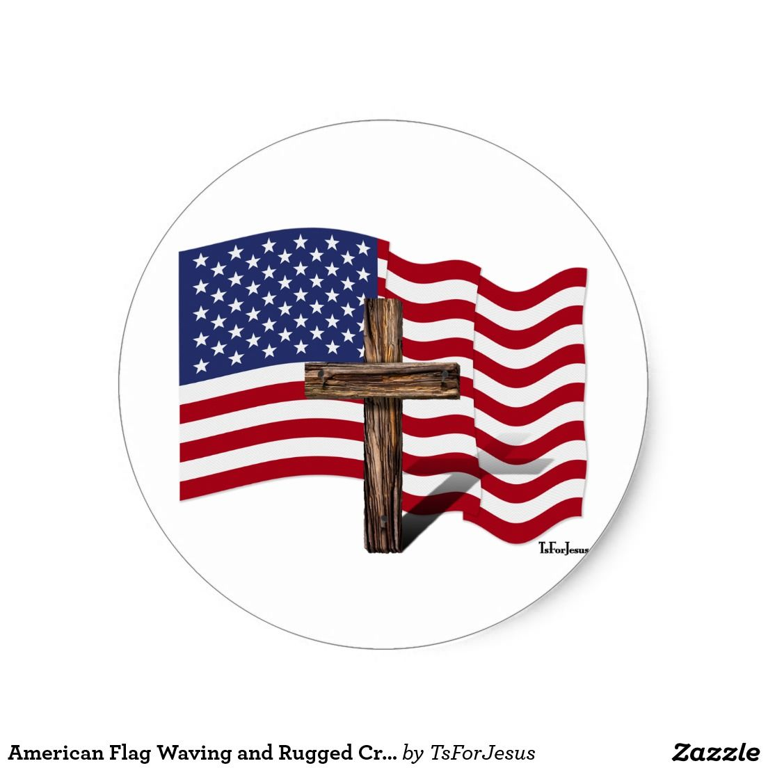 American Flag Waving and Rugged Cross Classic Round