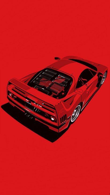 Ferrari Red Minimal Iphone Wallpaper Free Getintopik In 2020 Retro Cars Sports Car Wallpaper Car Iphone Wallpaper