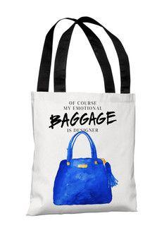 Emotional Baggage Tote Bag- White/Blue