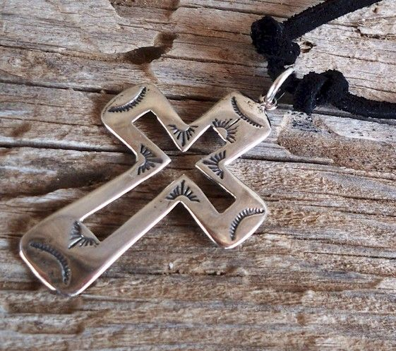 Show your Cowboy Faith Mens Sterling Silver and Black Leather