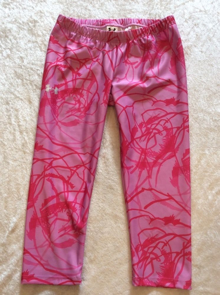 Under Armour Crops Pants Small Womens Capris Pink Graphic Print Running Yoga Fit #UnderArmour #PantsTightsLeggings