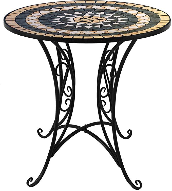 Amazon De Wohaga Mosaik Gartentisch Rund O70cm Mosaiktisch Beistelltisch Bistrotisch Balkontisch Eisen Keramik Decor Outdoor Decor Table