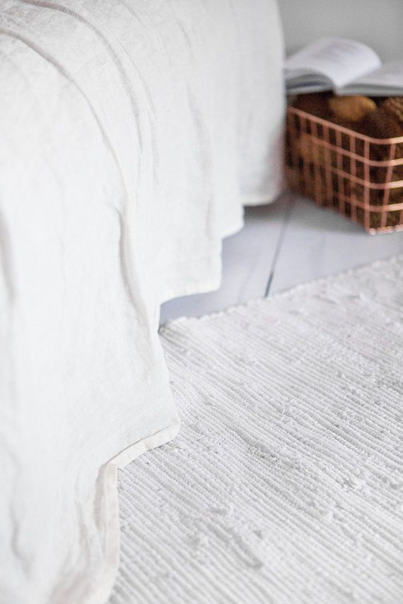 White Linen Flat Sheet Soft Stone Washed Bed Sheets Color Flax Hand Dyed