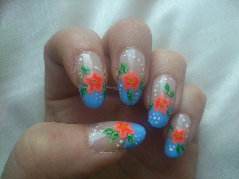 French Manicure With A Twist Blue Tips And Orange Flowers Nail