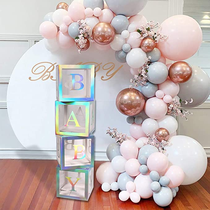 Amazon Com Baby Shower Boxes Party Decorations 4 Pcs Rainbow Sliver Transparent Balloons B Baby Shower Box Baby Shower Balloons Girl Baby Shower Decorations