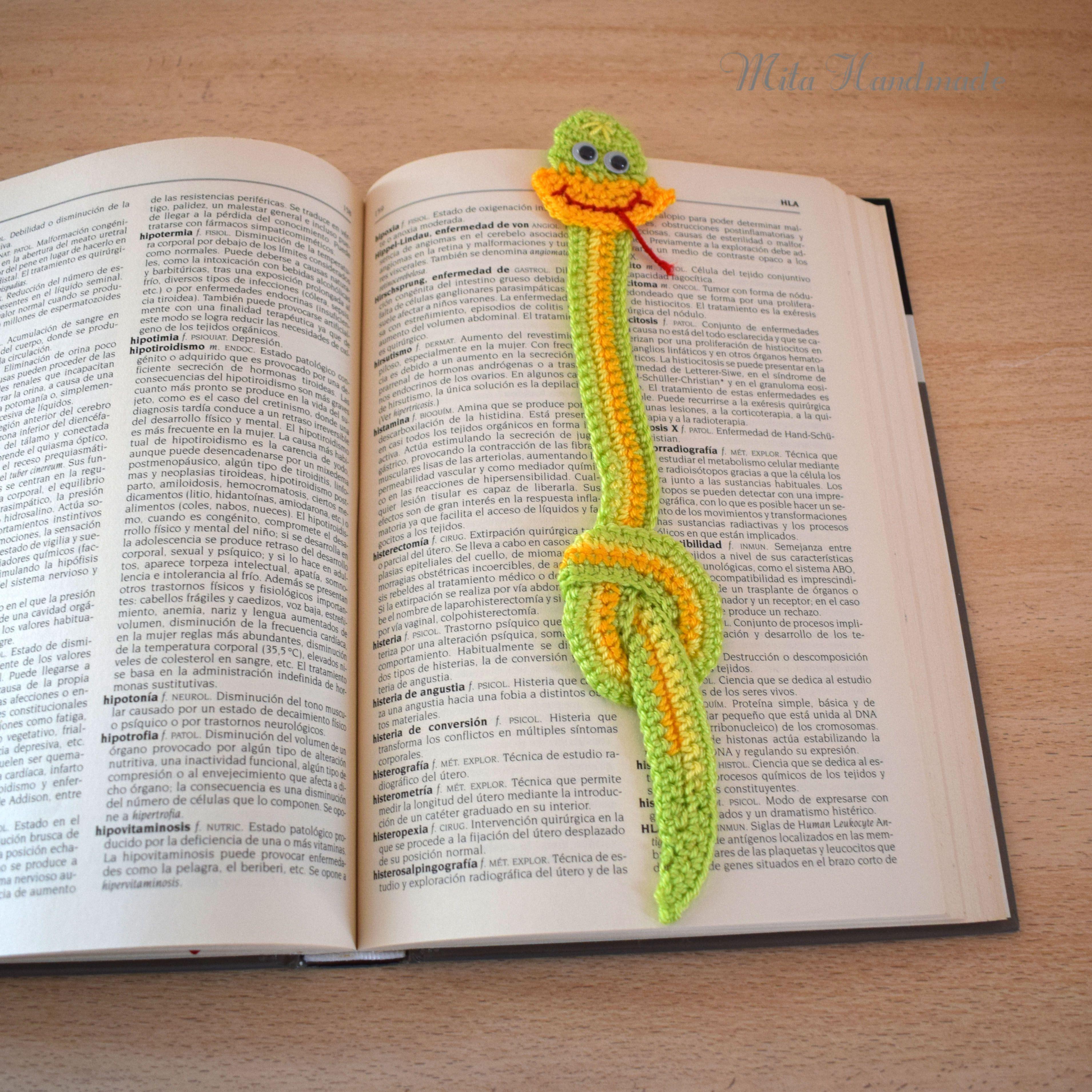Marcapágina serpiente crochet | Marcapáginas crochet | Pinterest ...