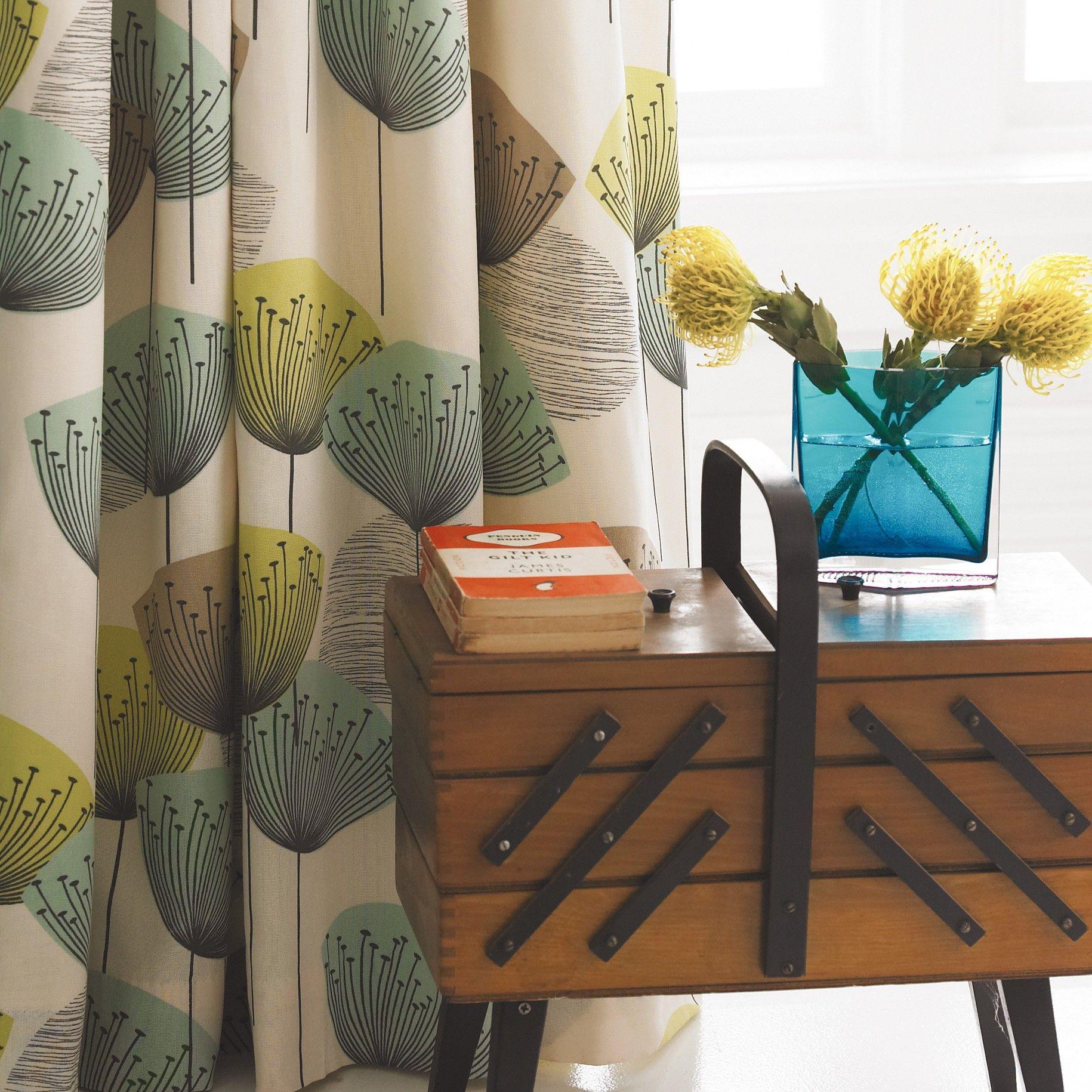 Sanderson Bedding Dandelion Clocks Aqua Curtains
