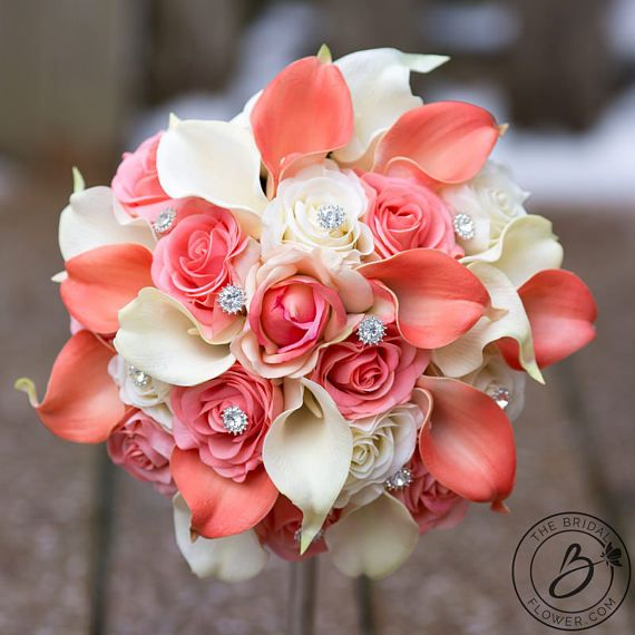 Wedding Bouquet Coral Cream Real Touch Calla Lily Silk Rose: Coral Wedding Bouquet With Sparkly Gems Roses And Calla