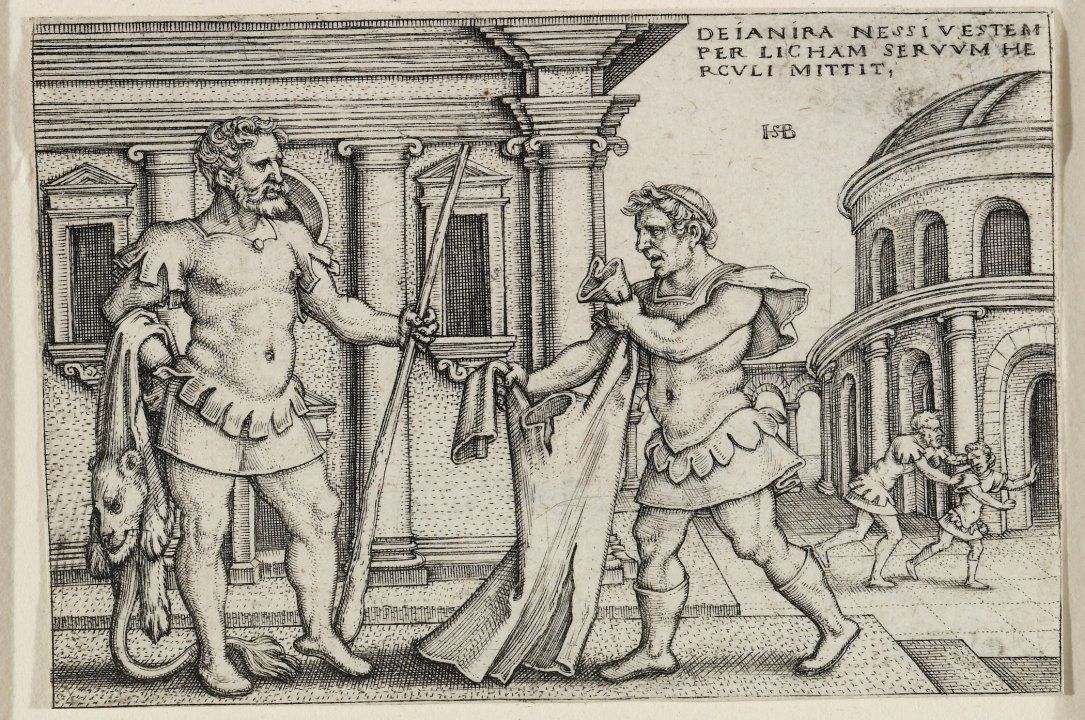 This shows Lichas delivering the shirt of Nessus to Hercules