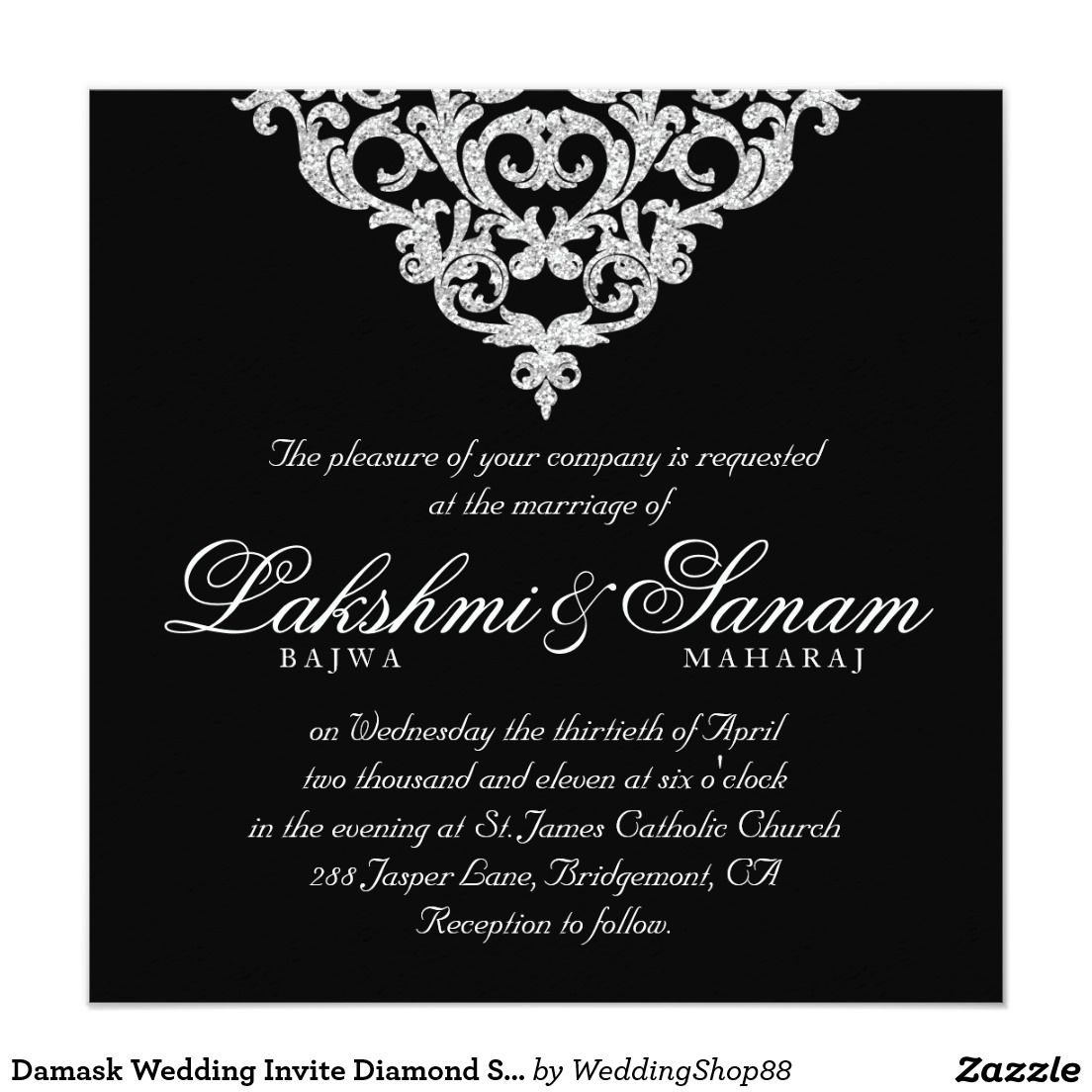 damask wedding invite diamond sparkle silver lace damask wedding