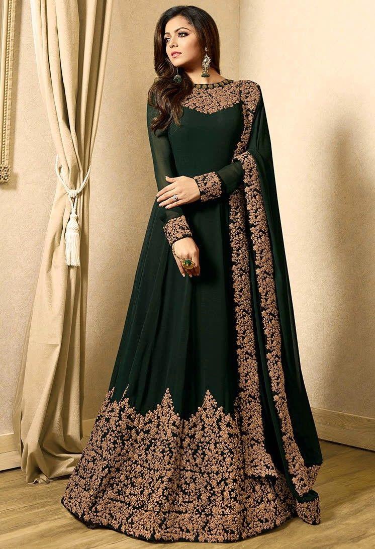 Bottle Green Drashti Dhami Georgette Anarkali Suit Party Wear Long Gowns Pakistani Dresses Anarkali Dress