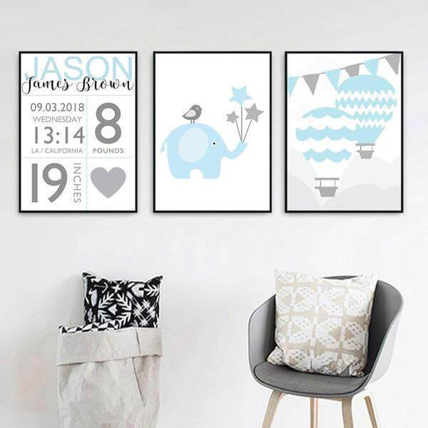 Baby Boy Birth Stats Art Prints Nursery Canvas Art Baby Canvas Art Nursery Canvas