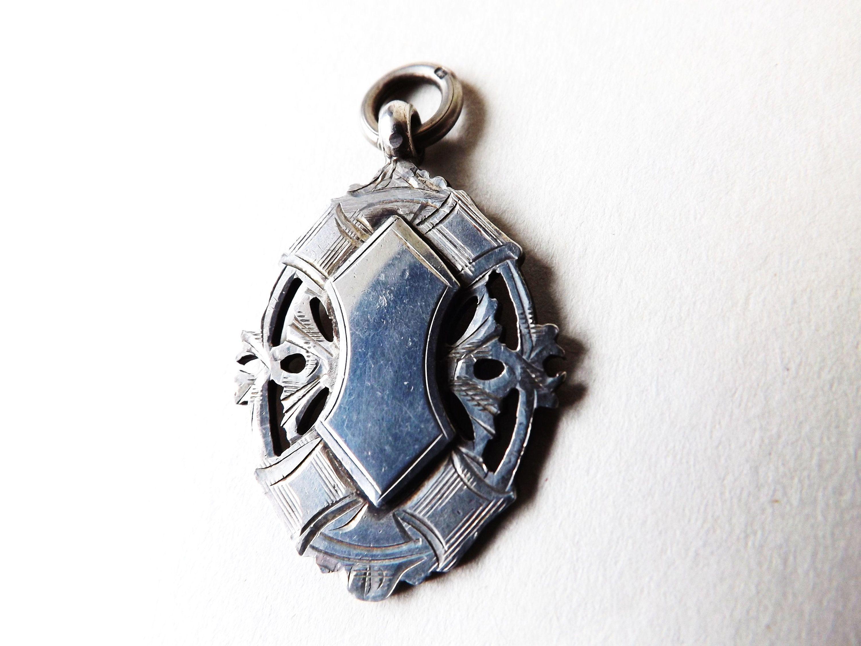 Vintage Sterling Silver Pendant Heavy Ornate Watch Fob Medallion British Hallmarke Birmingham Jewellery Quarter Sterling Silver Pendants Jewellery Quarter