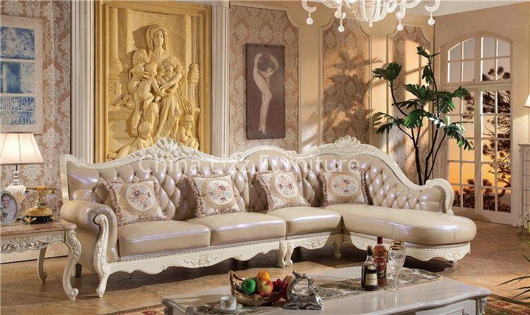 Classic Modern L Shape Homey Sofa Royal Furniture Antique Style Sofa Armchair Furniture