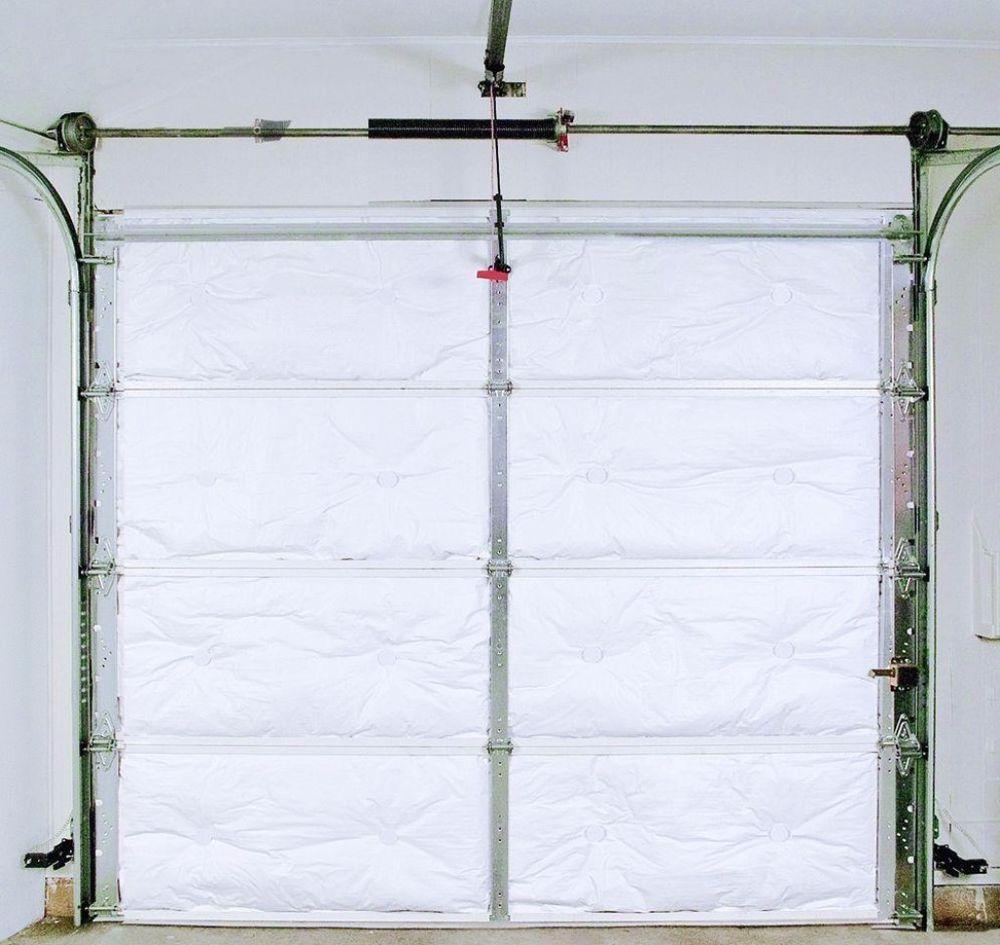 Metal Garage Door Insulation Kit 8 Panels Durable Washable White Vinyl Facing Garage G Garage Door Insulation Garage Door Insulation Kit Metal Garage Doors