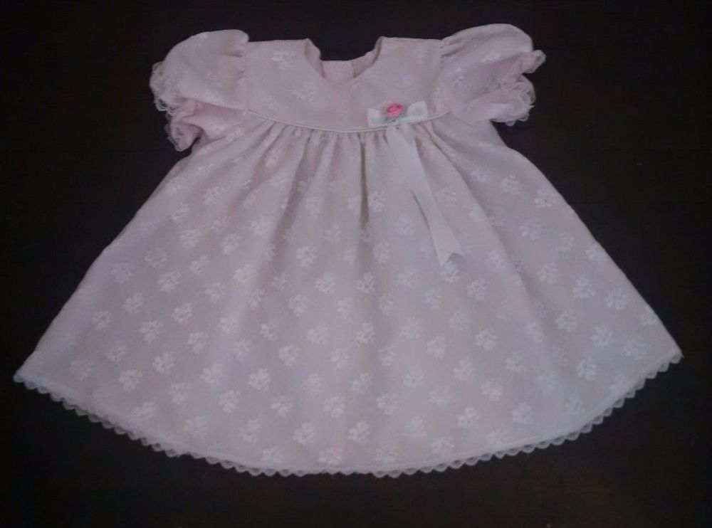 0cdca39afe70 Rose Cottage Baby Dress 24M Pink Sheer Floral Lace Overlay Rose ...