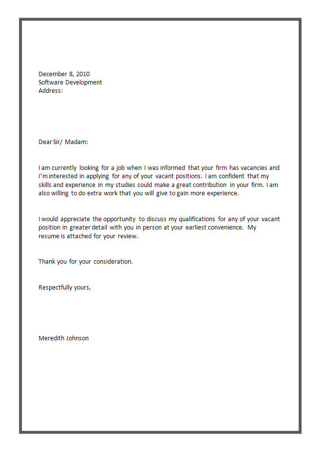 Simple Cover Letter Samples – Cover Letter Example for Job