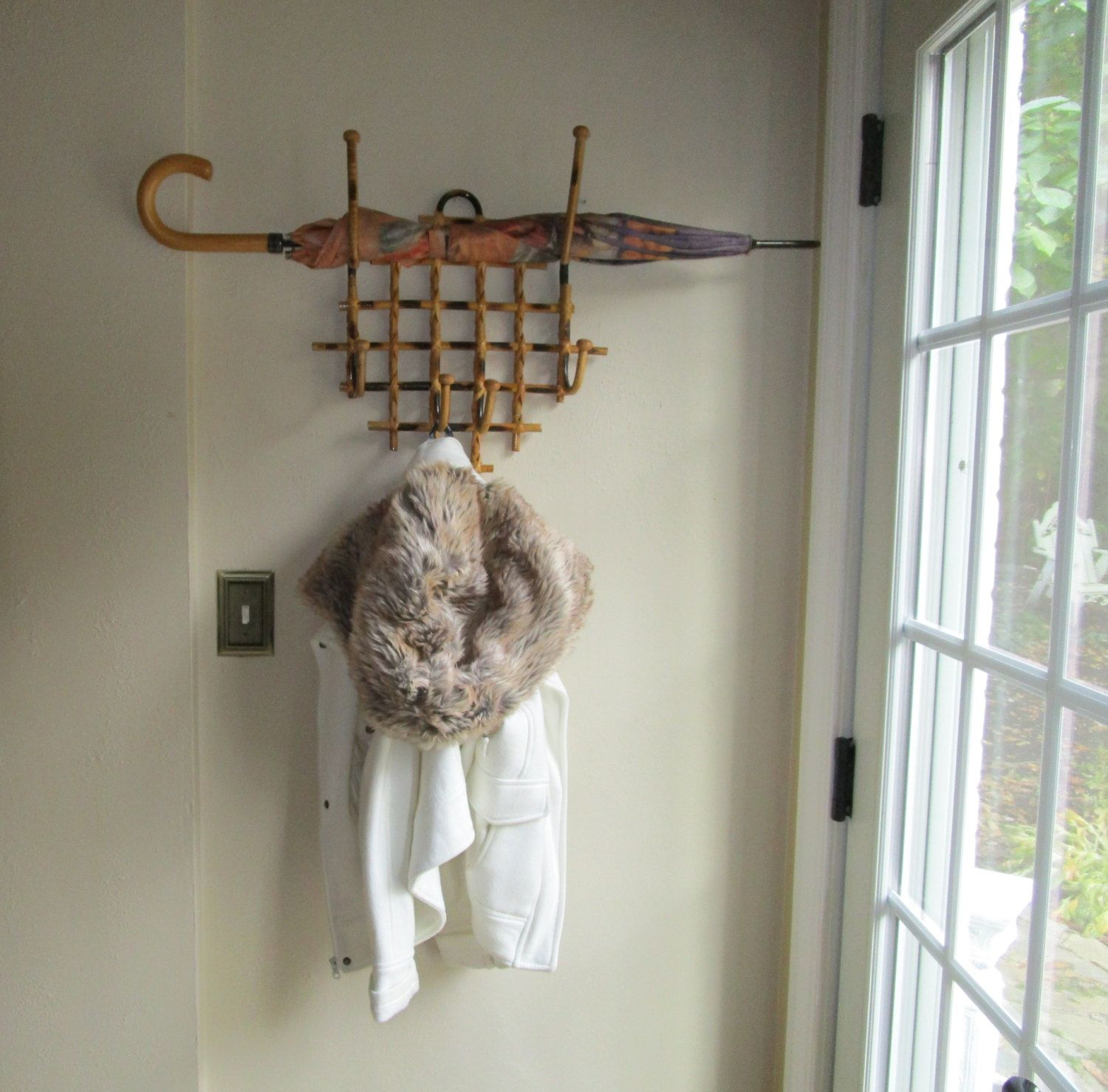 Vintage Rattan Hat Rack  Hooks  Wall Rack
