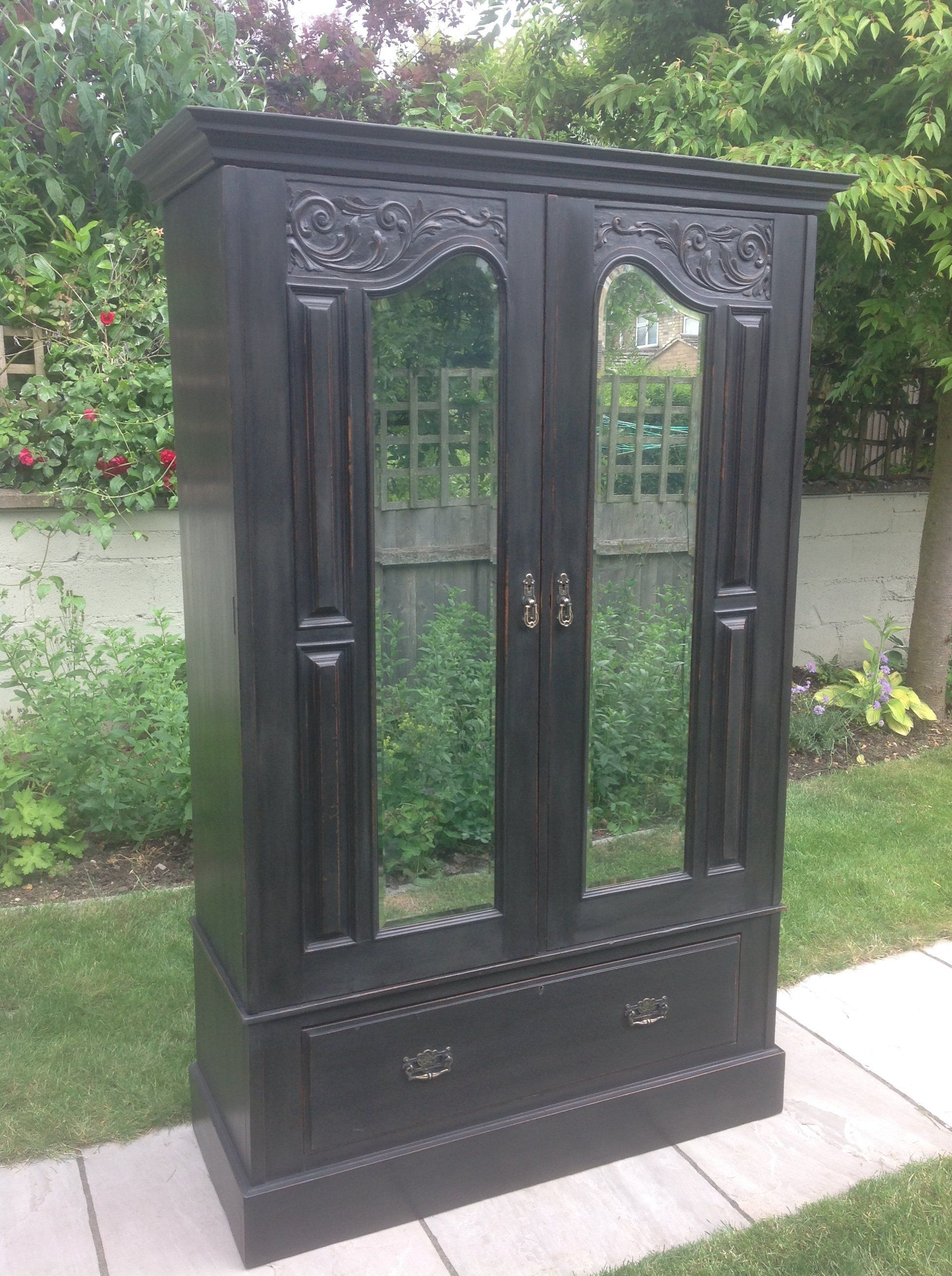 Antique Edwardian Hand Painted Black Wardrobe Hall Cupboard Bedroom With Mirror Annie Sloan Graphite By Clynecofurnitu Hall Cupboard Bedroom Cupboards Antiques