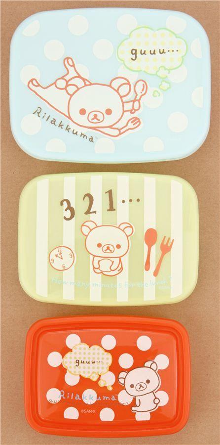 dots stripes Rilakkuma bear cutlery Bento Box 3 pcs Lunch Box