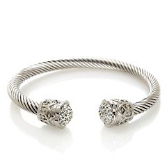 Stately Steel Crystal-Accented Rope-Textured Bracelet