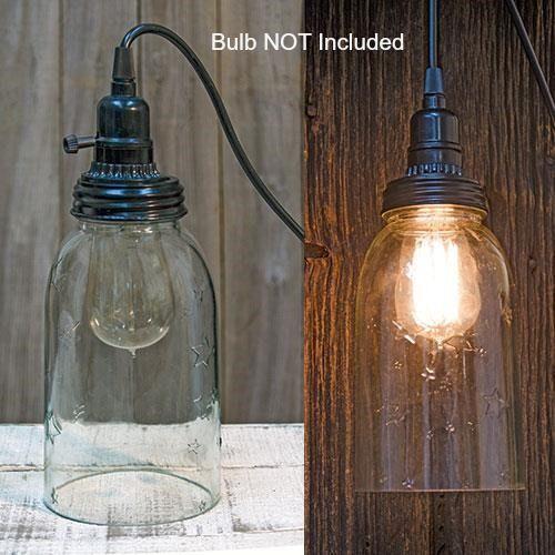 New Primitive Farmhouse Chic CLEAR STAR MASON JAR PENDANT LIGHT Hanging Lamp