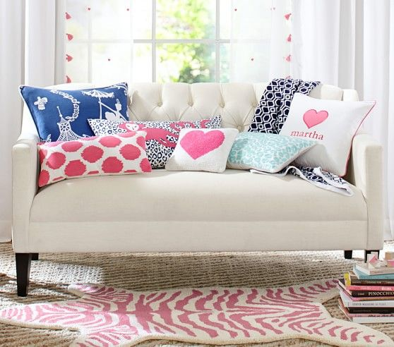 Idea for Julia (or Chloe) on top of another plain rug- also love the pillows for Julia!