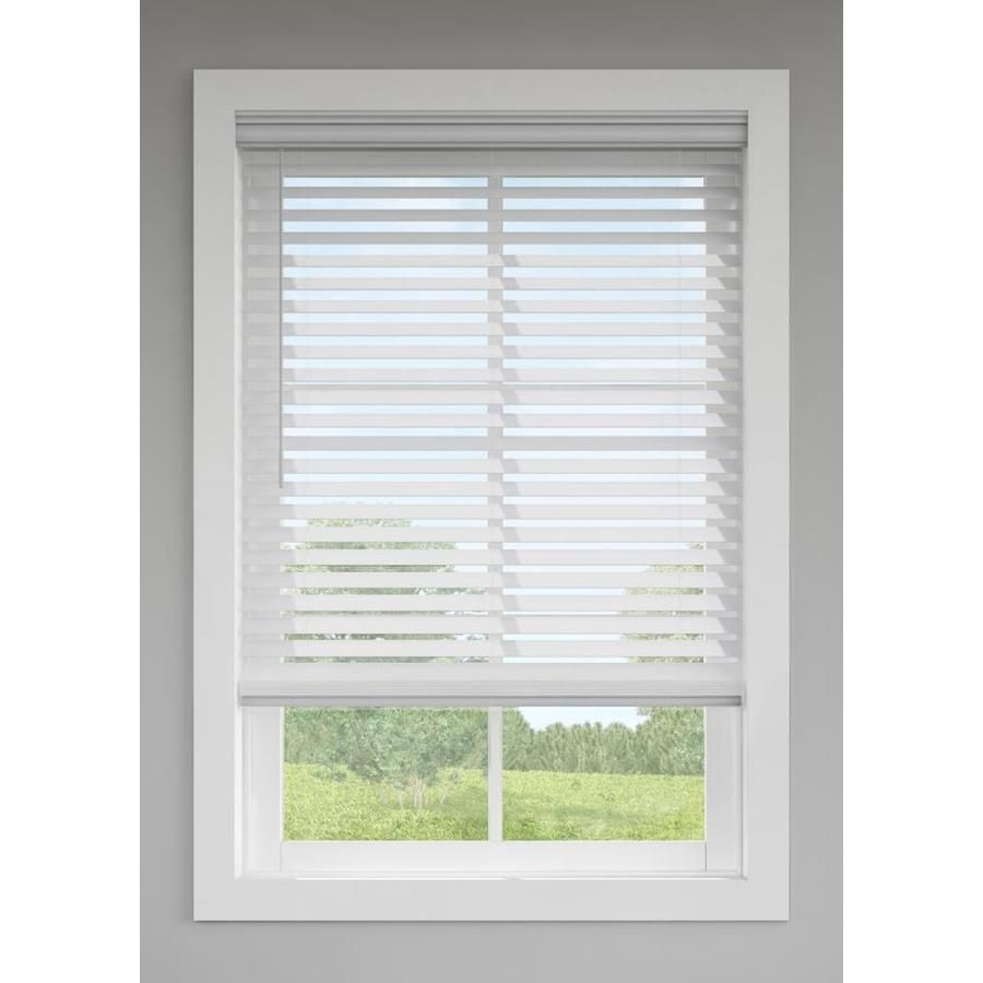 Levolor 2 5 In Cordless Gray Faux Wood Blinds Common 35 In Actual 34 5 In X 72 In Faux Wood Blinds Blinds Wood Blinds