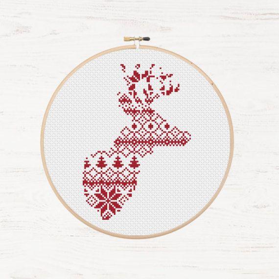 Nordic Cross Stitch Pattern Christmas Reindeer Pattern Etsy Cross Stitch Patterns Cross Stitch Patterns Christmas Stitch Patterns