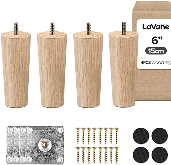 6 Inch 15cm Wooden Furniture Legs La Vane Set Of 4 Solid Wood Tapered M8 Replacement Furniture Feet With In 2020 Furniture Legs Wooden Furniture Legs Furniture Feet