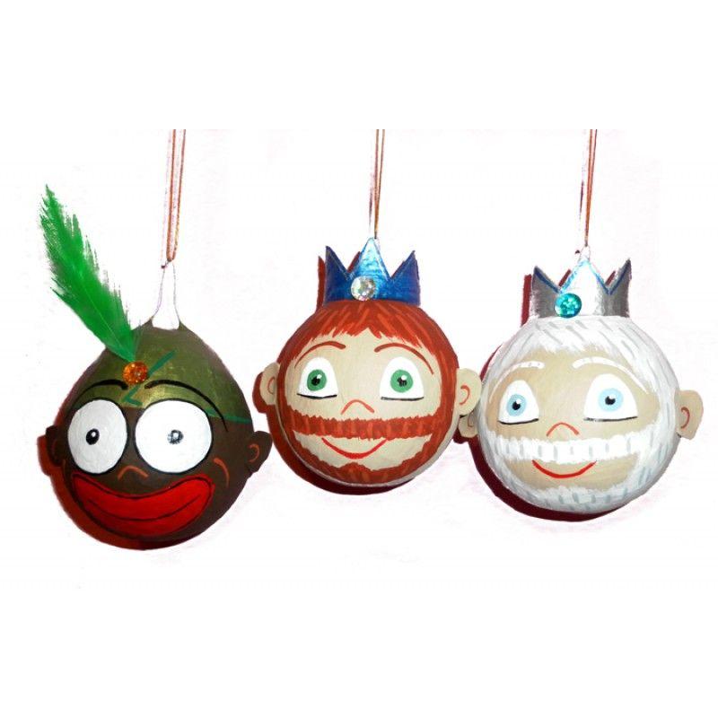 bolas de navidad de los tres reyes magos de papel mach - Como Decorar Una Bola De Navidad