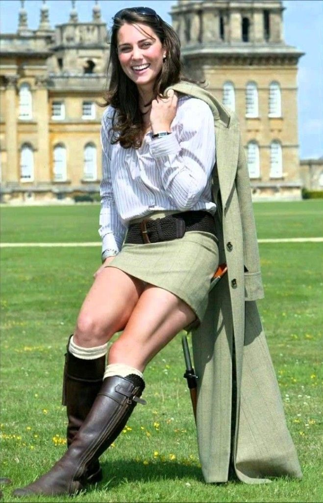 64882f7be295b Kate Middleton showing her killer legs in a mini skirt and knee high boots.
