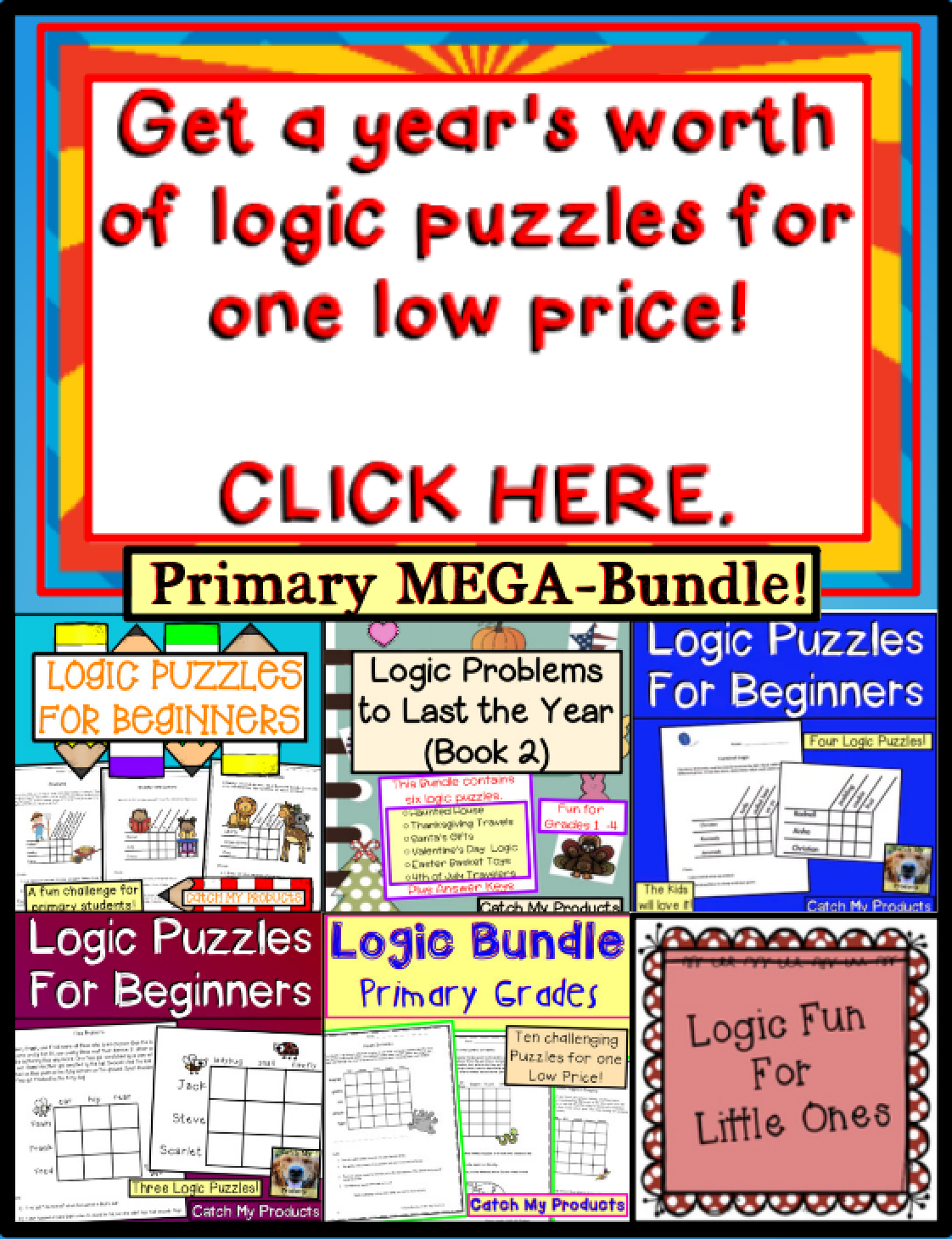 Brain Teasers Logic Puzzles Primary Mega Bundle Ted