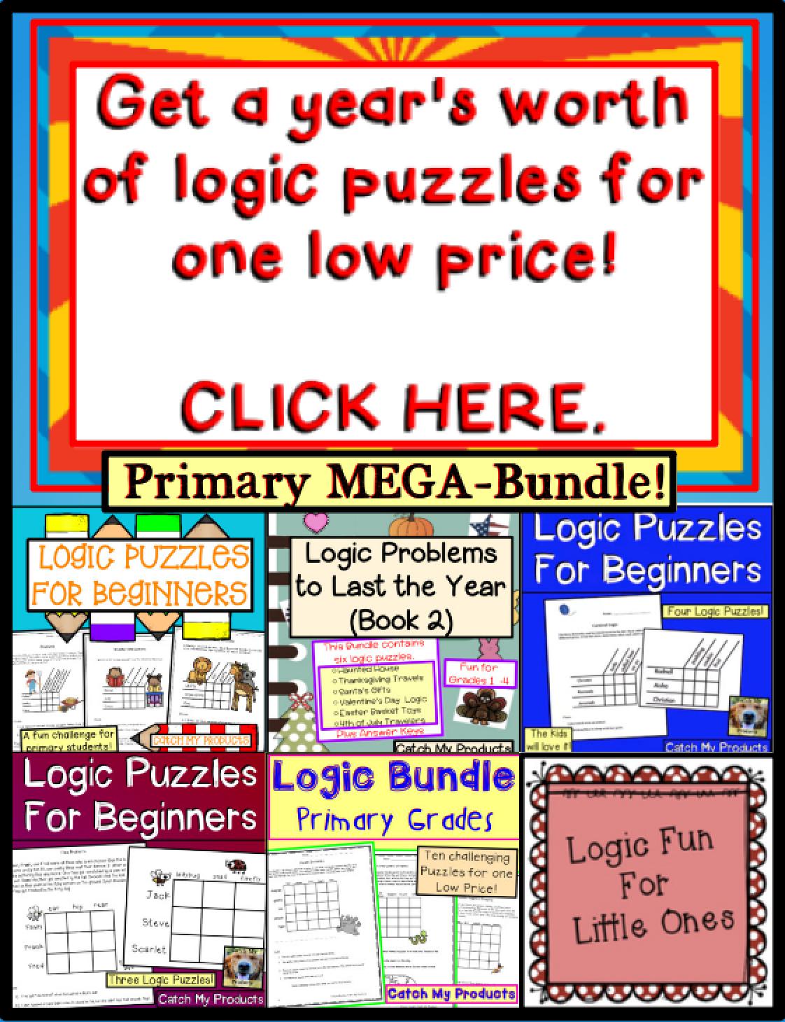 Brain Teasers Logic Puzzles Primary Mega Bundle Ted