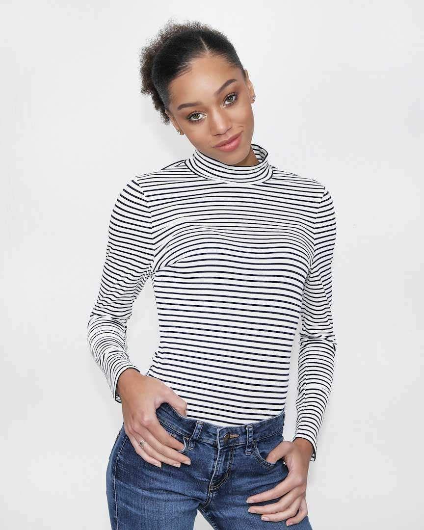 Brit Black and White Striped Bodysuit | Striped bodysuit ...