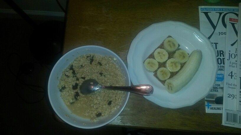 Breakfast: oatmeal, raisins, banana, peanut butter nature valley bar, & water