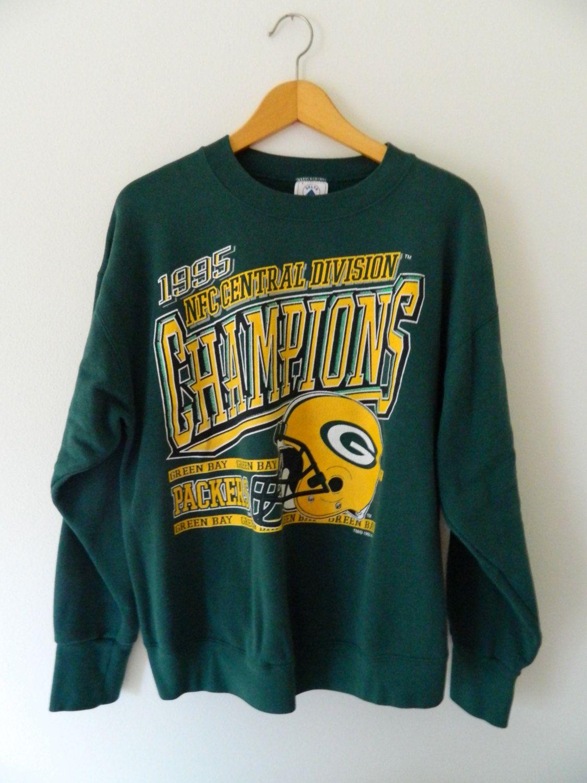 Green Bay Packers Vintage Sweatshirt 1995 Nfc Central Division Champions By Vintage Sweatshirt Sweatshirts Green Bay Packers Vintage