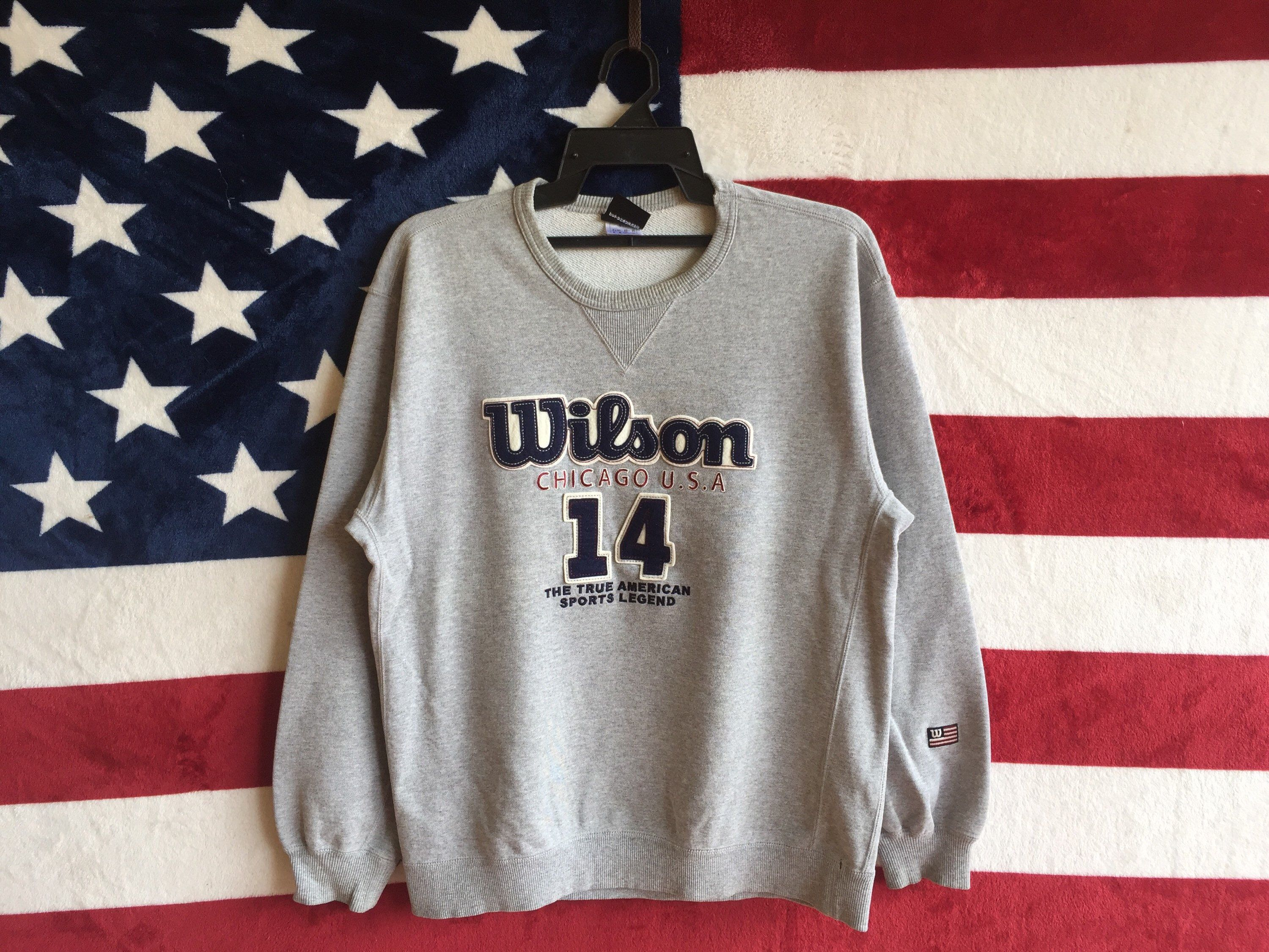 Excited To Share The Latest Addition To My Etsy Shop Vintage 90s Wilson Chicago Usa Sweatshirt Grey Colour Wilson Usa Sweatshirt Grey Sweatshirt Sweatshirts [ 2250 x 3000 Pixel ]
