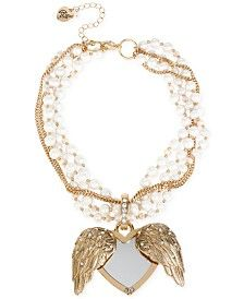 Betsey Johnson Gold-Tone Faux-Pearl Winged Heart Drama Necklace