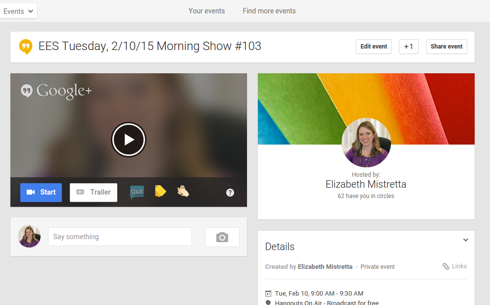 OnAirEd: How our audience views the Morning Show using aYouTube link and Google Site to view the Hangout On Air