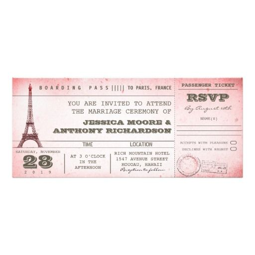 vintage pink wedding boarding pass to Paris Card Vintage pink - best of invitation template boarding pass