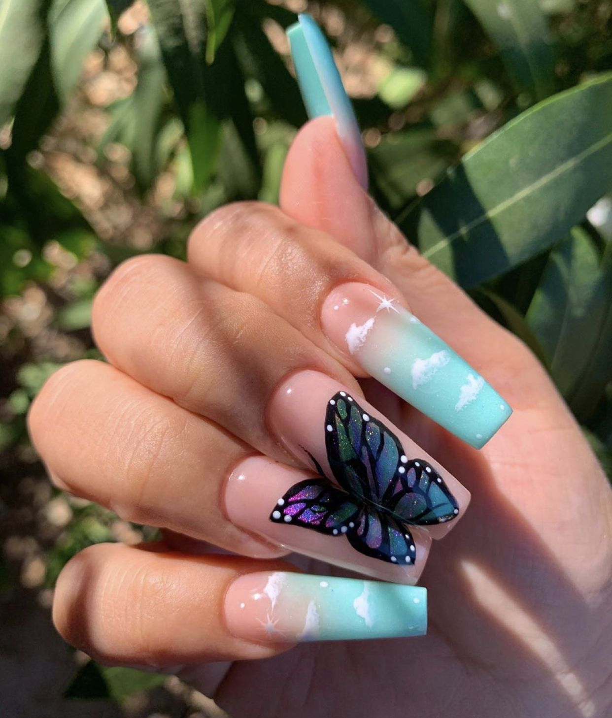 Cloud Butterfly nails   Fire nails, Cute nails, Trendy nails