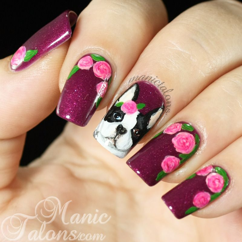 Nailpolis Museum of Nail Art | Boston Terrier and Roses by ManicTalons