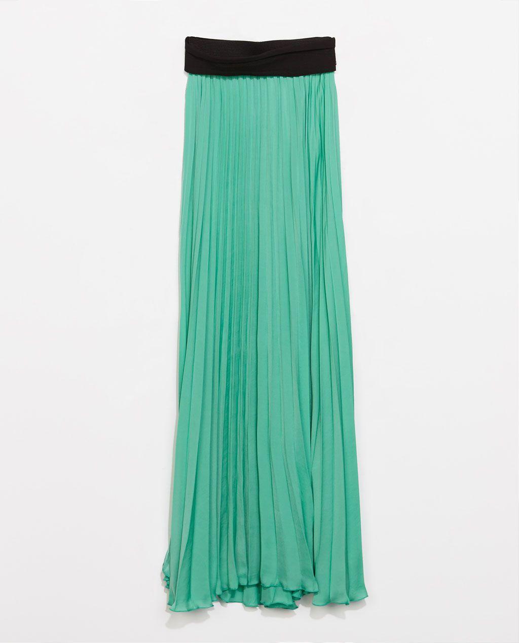 falda  larga  plisada  tableada  verdeagua  · ZARA · 49 7407a88de67c