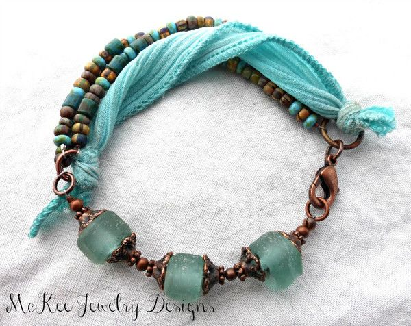 Recycled glass and Czech Picasso glass with copper metal bracelet. - - McKee Jewelry Designs - 1