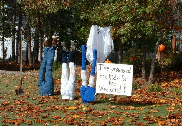 funny-yet-scary-outdoor-decorations-for-halloween-upside-down-diy - homemade halloween outdoor decorations